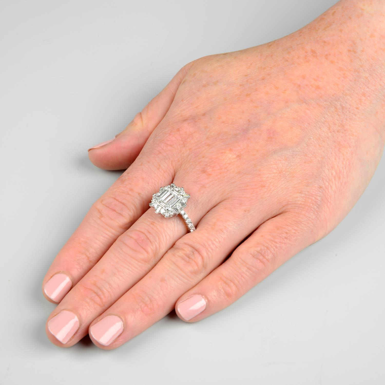 A vari-cut diamond cluster ring. - Image 3 of 6