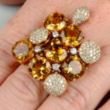 A citrine and diamond cocktail ring,