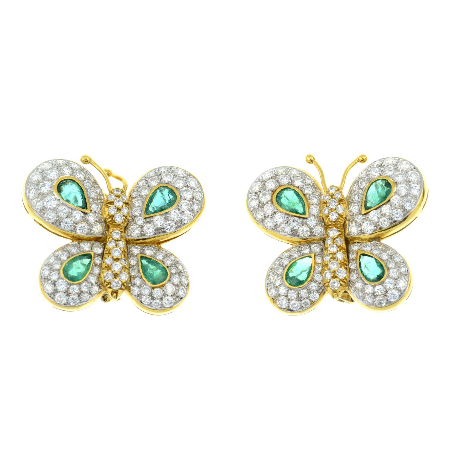 A pair of 1970s 18ct gold emerald and diamond butterfly earrings, - Image 2 of 3