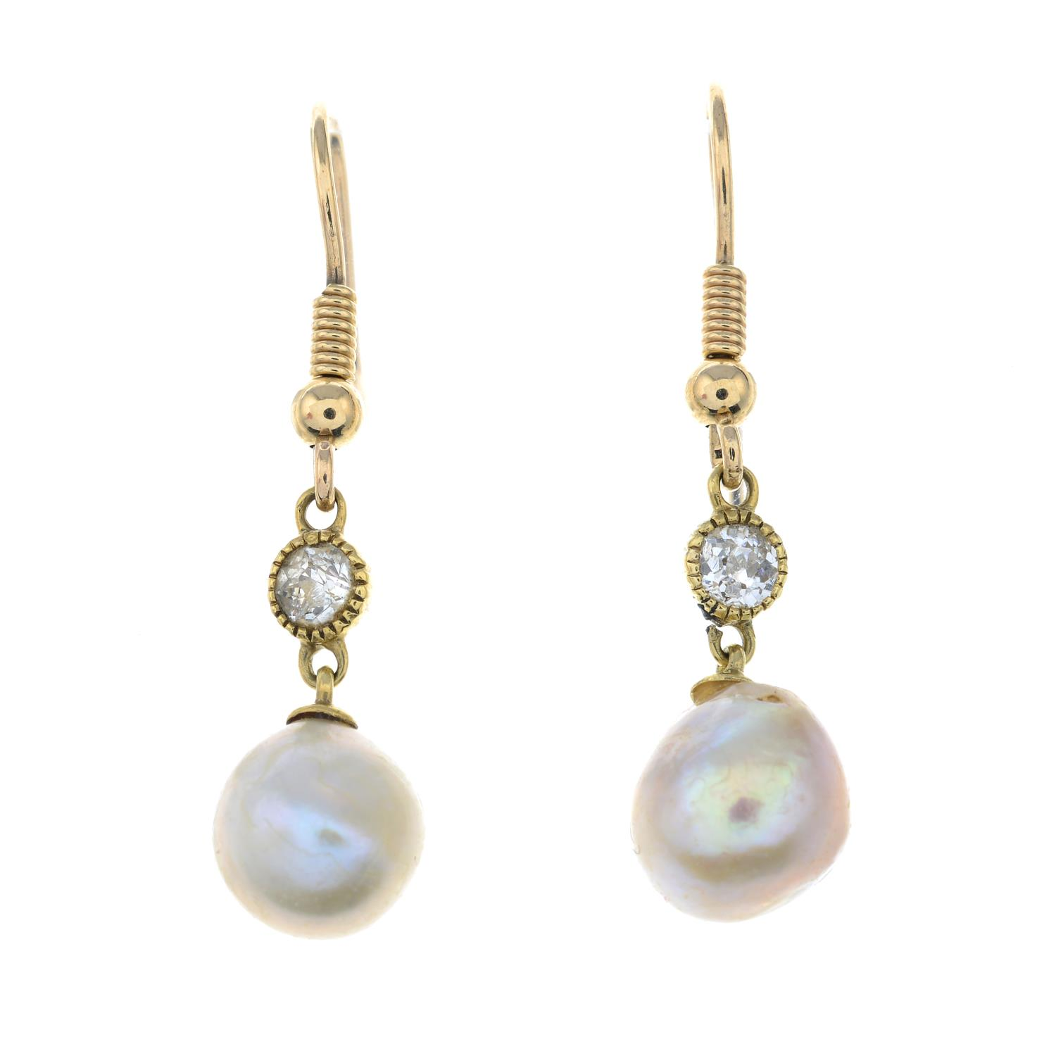 A pair of natural pearl and old-cut diamond drop earrings. - Image 2 of 3