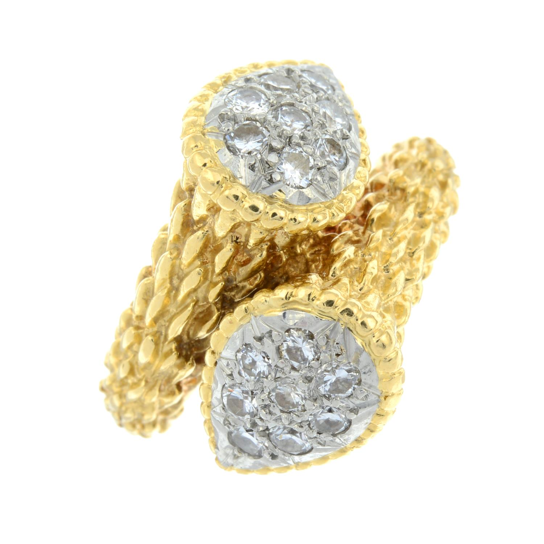 A pavé-set diamond textured crossover dress ring. - Image 2 of 6