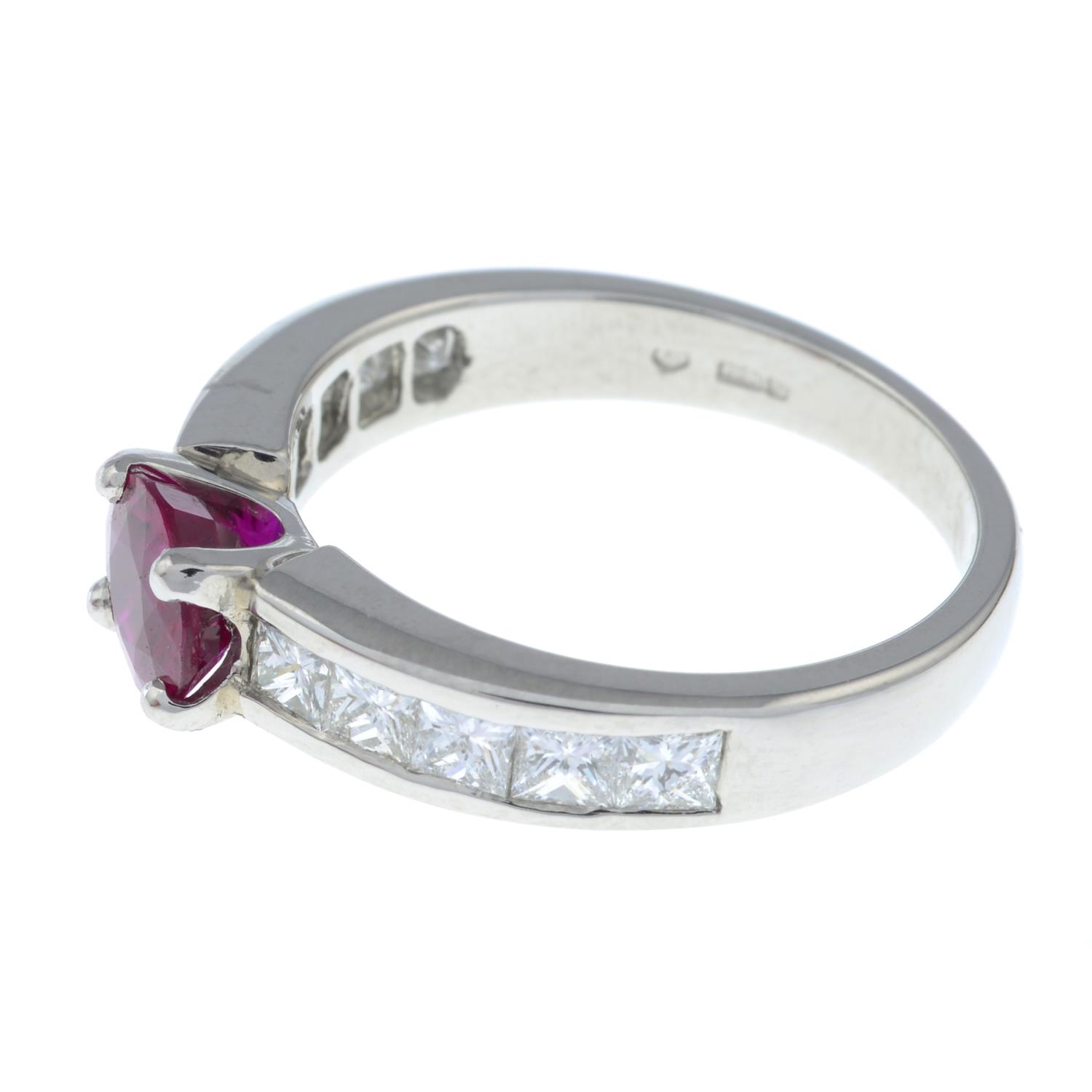 A platinum ruby single-stone ring, with square-shape diamond line shoulders. - Image 5 of 6