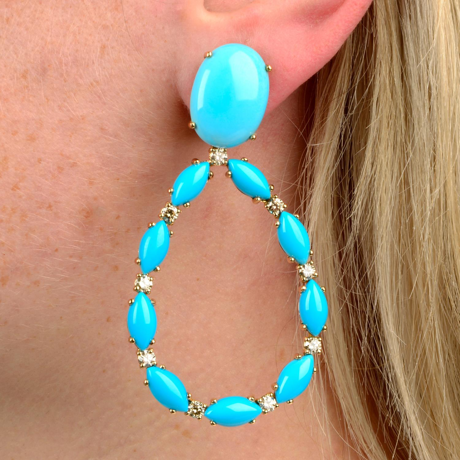 A pair of turquoise and brilliant-cut 'brown' diamond earrings,