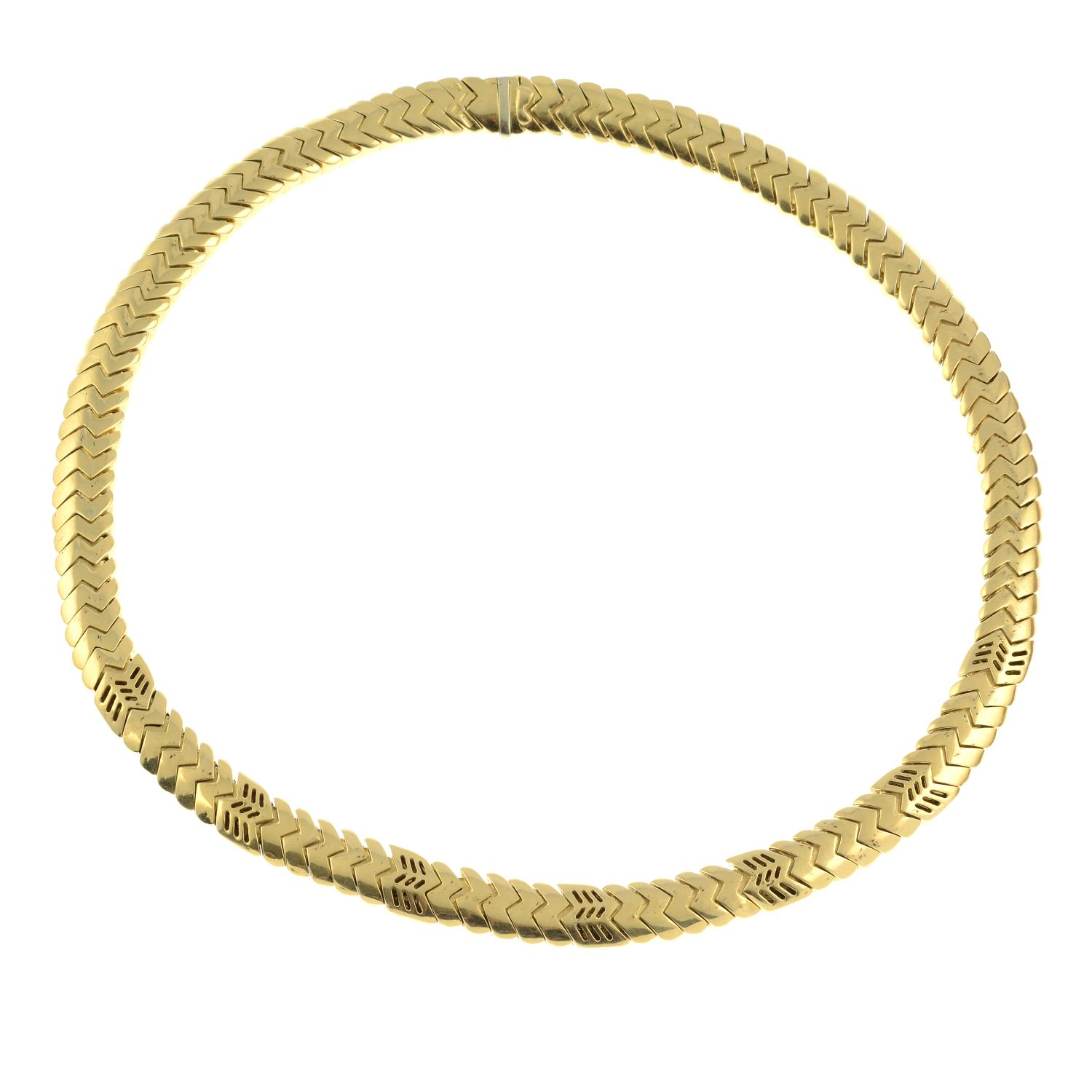 An 18ct gold 'Spiga' necklace, by Bulgari. - Image 5 of 6