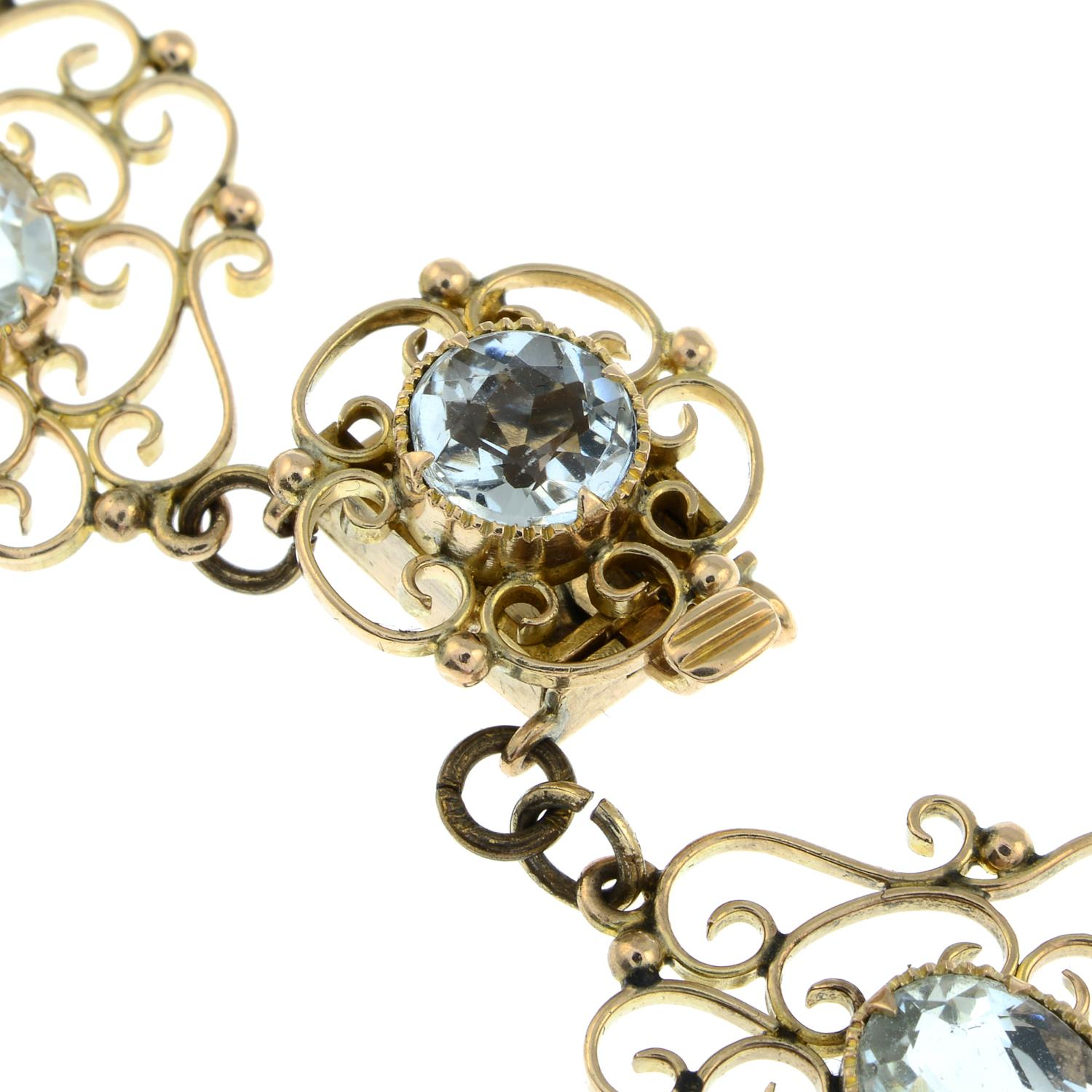 An early 20th century Arts & Crafts gold aquamarine necklace.Length 43.5cms. - Image 5 of 6