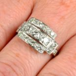 A brilliant-cut diamond geometric ring.Estimated total diamond weight 1ct,