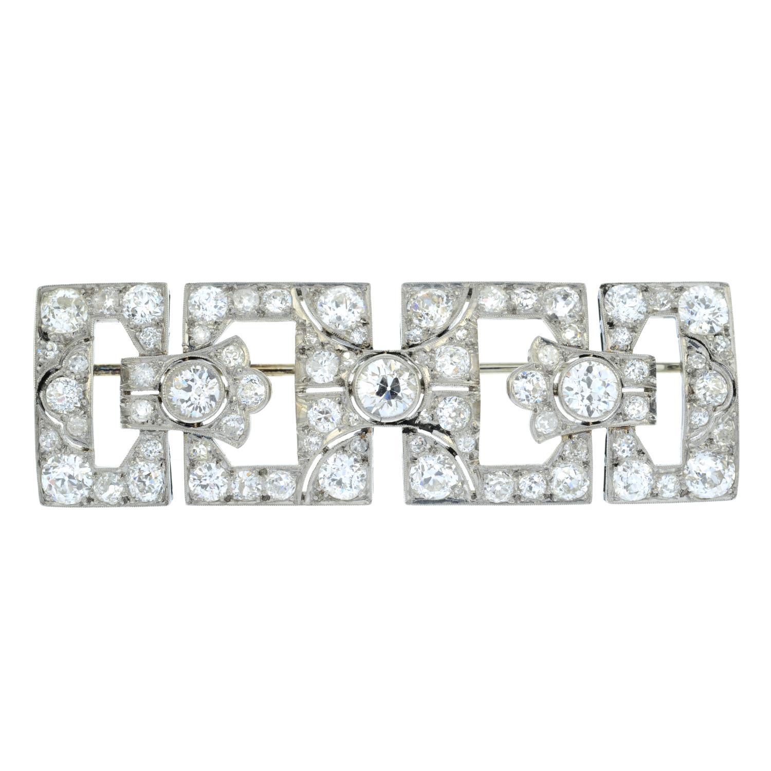 An Art Deco platinum and gold old-cut diamond geometric brooch. - Image 2 of 4