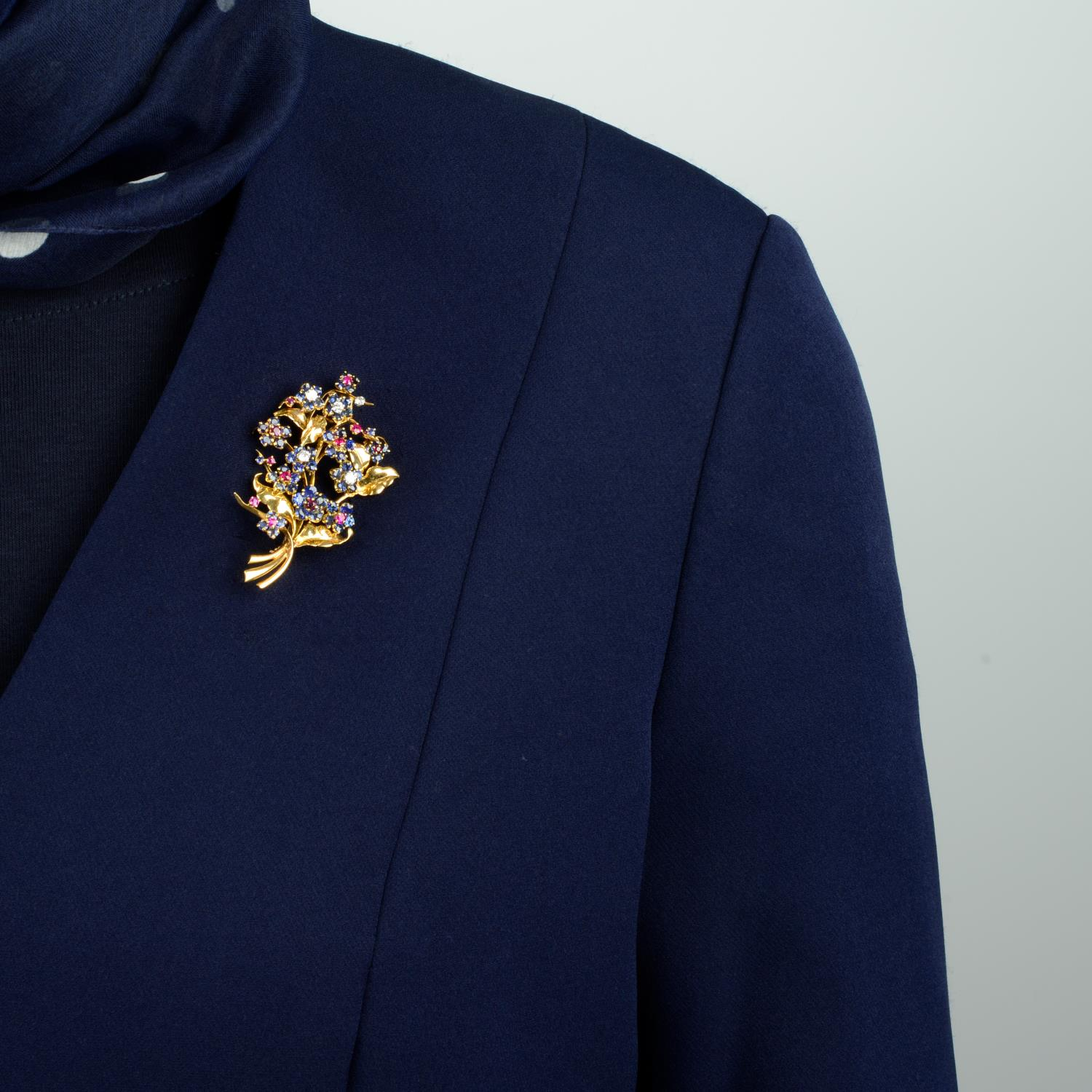 A mid 20th century 18ct gold sapphire, ruby and diamond floral brooch, by Mauboussin. - Image 3 of 4