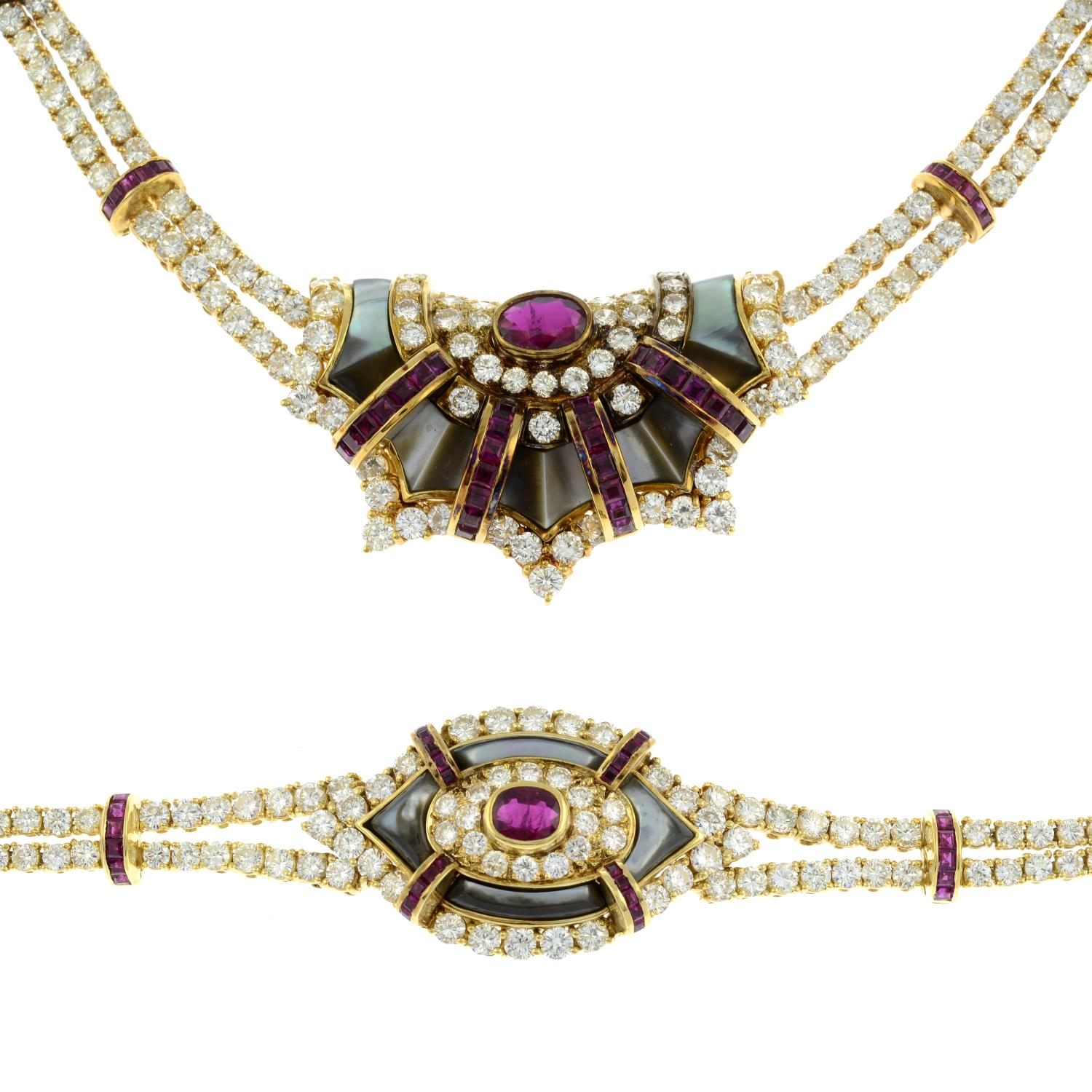 A diamond, ruby and grey mother-of pearl necklace, - Image 2 of 9