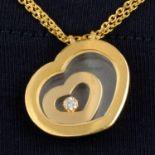 An 18ct gold brilliant-cut diamond 'Happy Spirit' heart pendant,