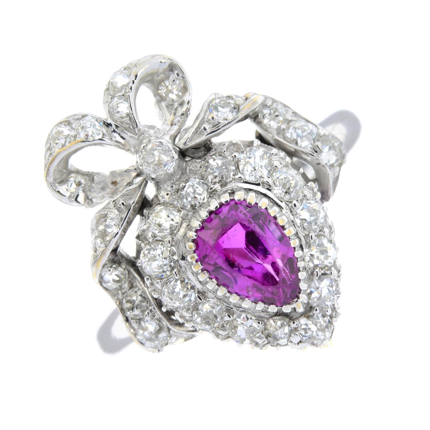 An early 20th century gold ruby and diamond bow ring.Ruby calculated weight 0.74ct, - Image 2 of 5