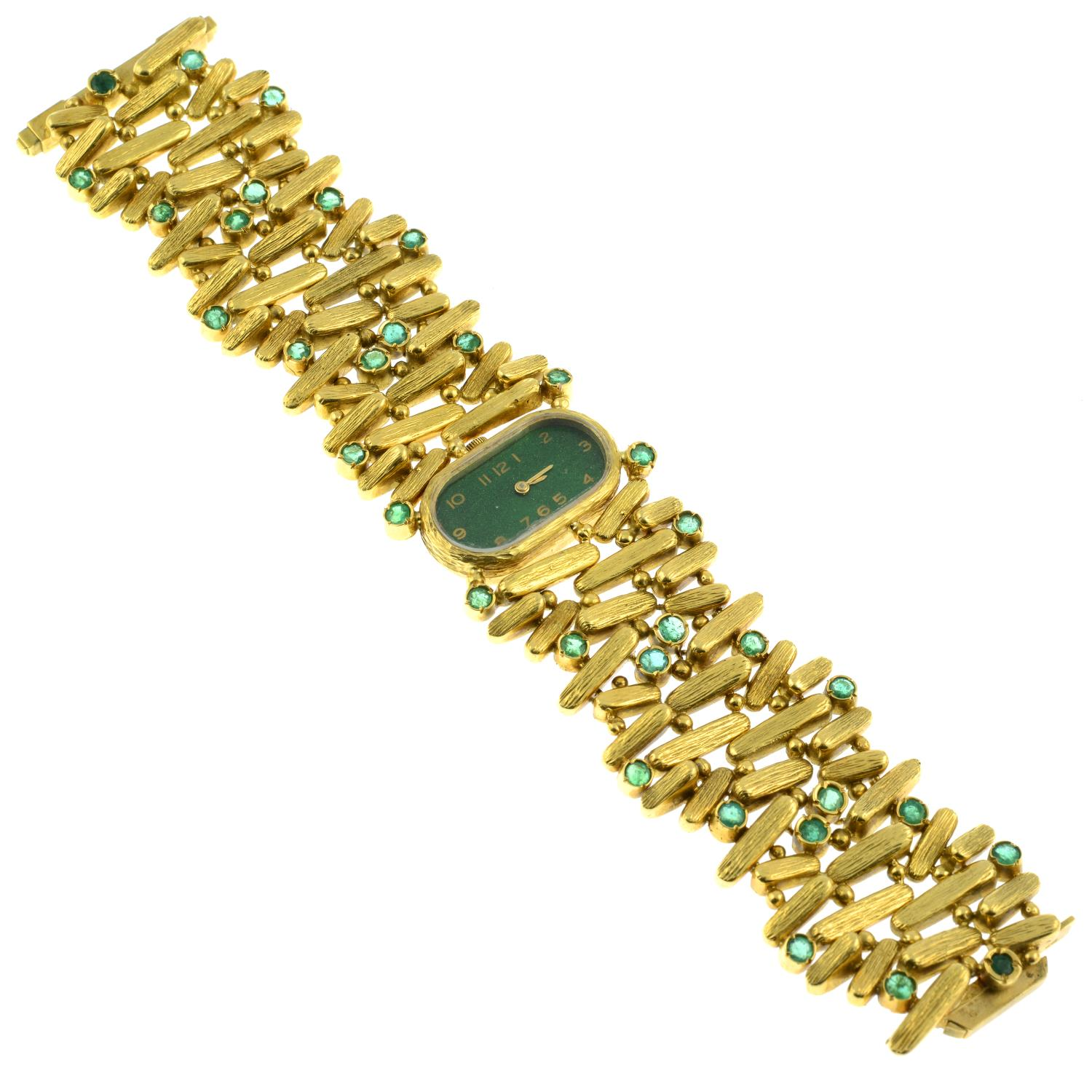 A 1970s 18ct gold emerald cocktail watch, with painted green dial.Maker's mark PG. - Image 3 of 4