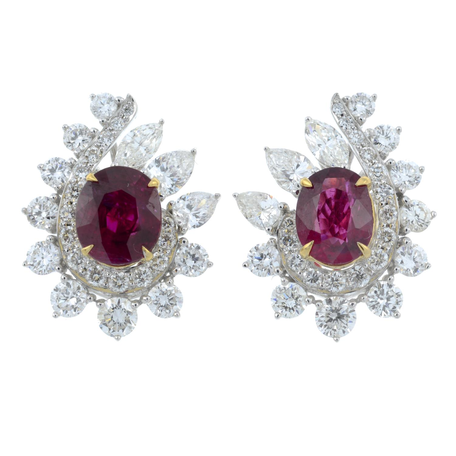 A pair of 'Pigeon's Blood' Burmese ruby and vari-cut diamond earrings.With reports from GRS, - Image 2 of 5