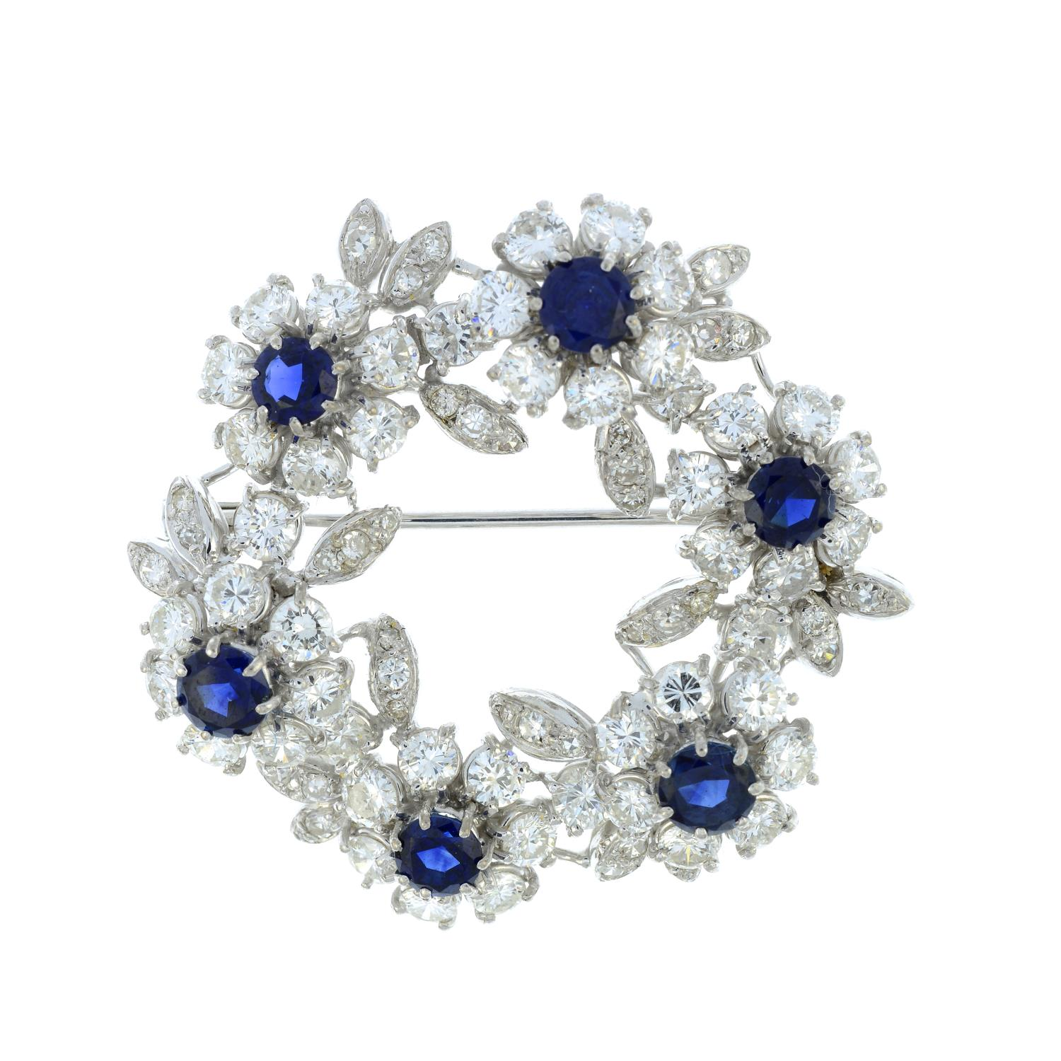 A mid 20th century 18ct gold sapphire and diamond floral wreath brooch.Estimated total sapphire - Image 2 of 4