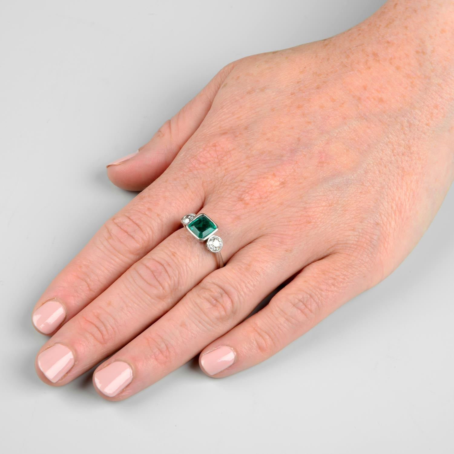 An 18ct gold emerald and old-cut diamond three-stone ring.Emerald calculated weight 1.04cts, - Image 3 of 6
