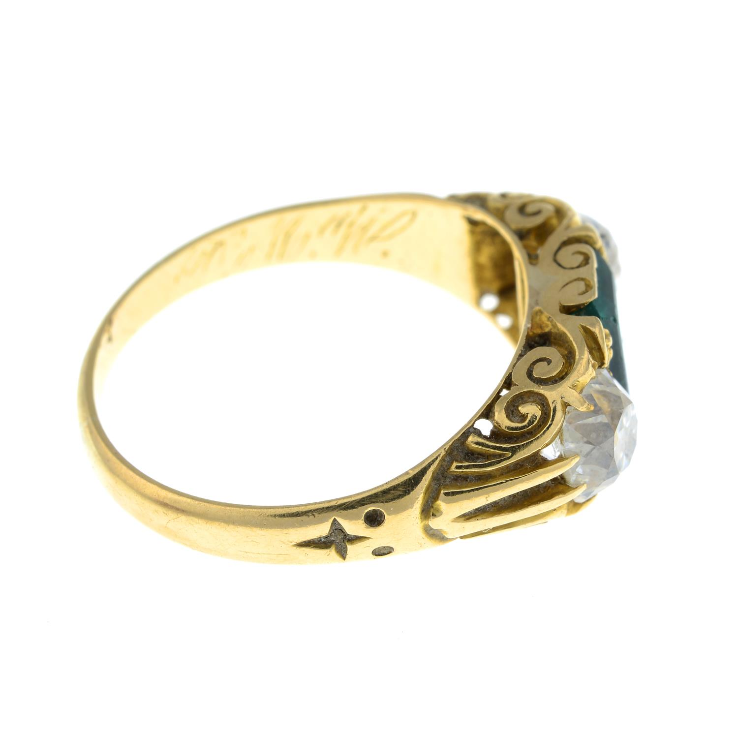 A late Victorian 18ct gold Colombian emerald and old-cut diamond three-stone ring.Verbal from GCS, - Image 7 of 8