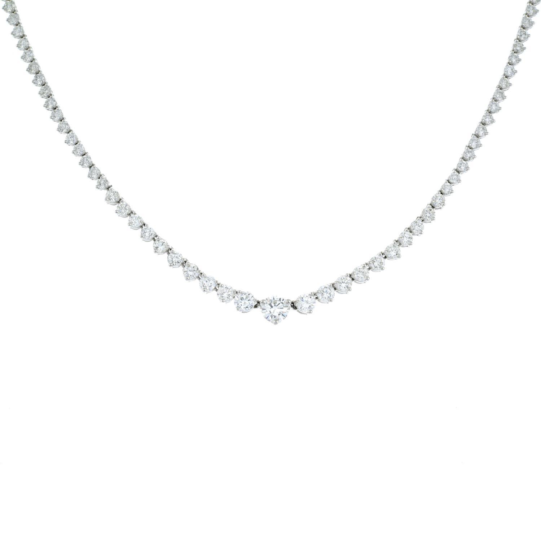 A graduated brilliant-cut diamond line necklace. - Image 2 of 6