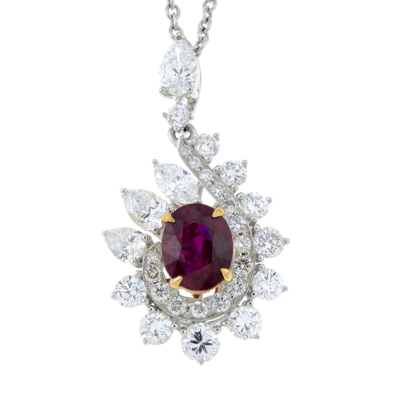 A 'Pigeon's Blood' Burmese ruby and vari-cut diamond cluster pendant, - Image 2 of 6