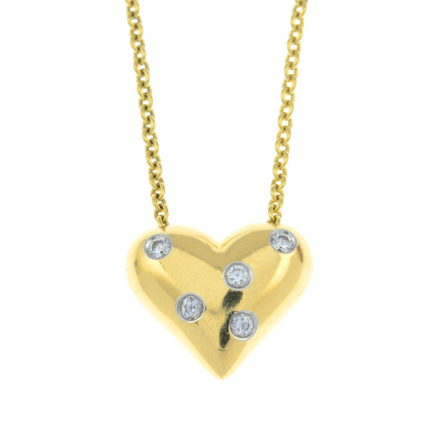 A diamond 'Etoile' heart pendant, on chain, by Tiffany & Co. - Image 2 of 6