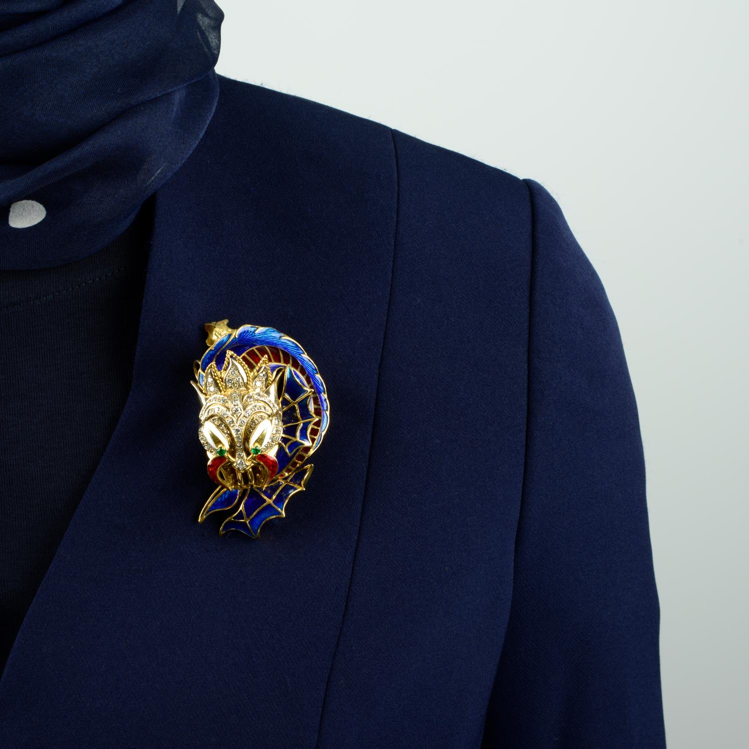 A mid 20th century 18ct gold enamel, - Image 3 of 4