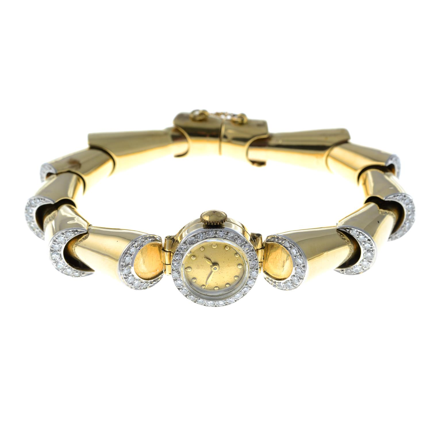 A 1940s gold diamond cocktail watch.Estimated total diamond weight 1.35cts, - Image 5 of 5