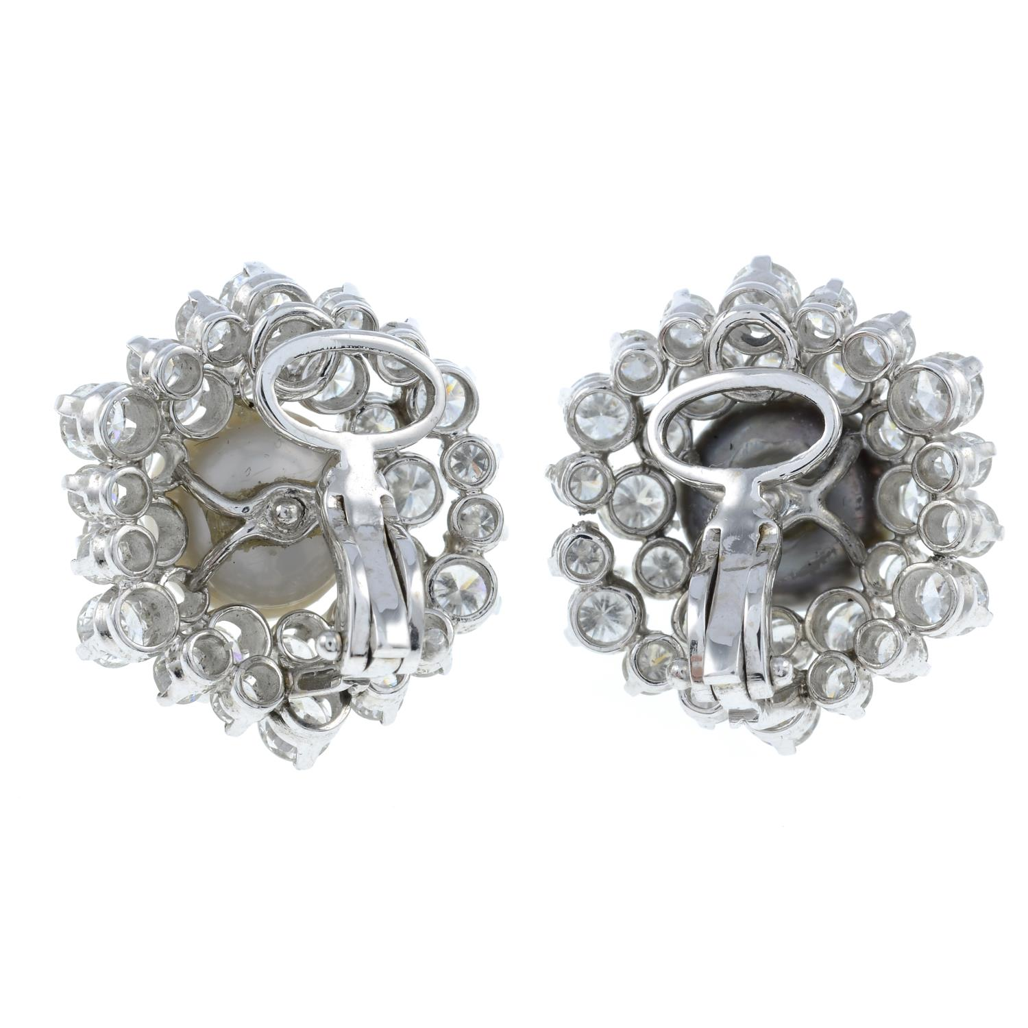 A pair of natural pearl and diamond cluster earrings.With report 77110-13, - Image 3 of 4