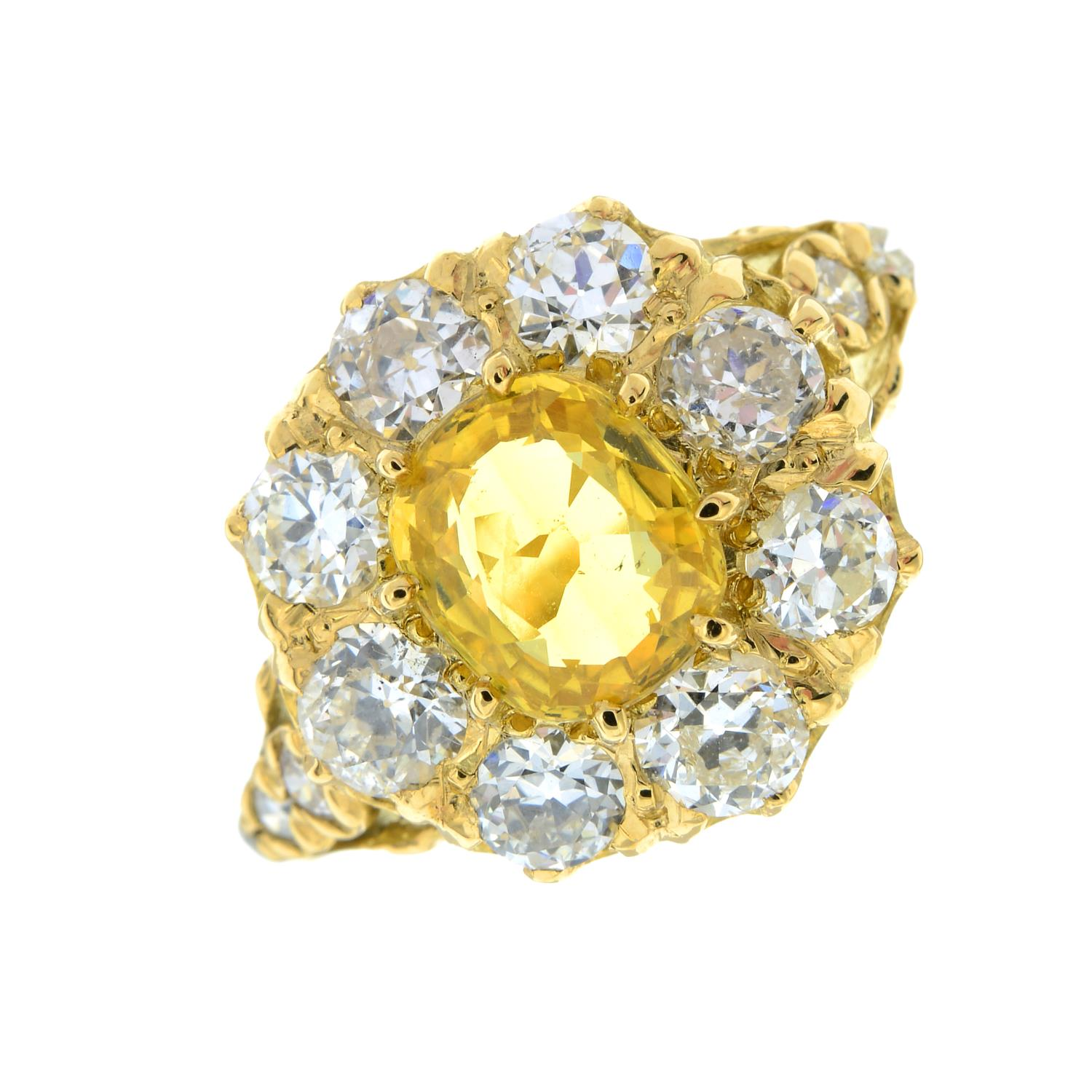 A yellow sapphire and old-cut diamond cluster ring.Sapphire calculated weight 1.05cts, - Image 2 of 6