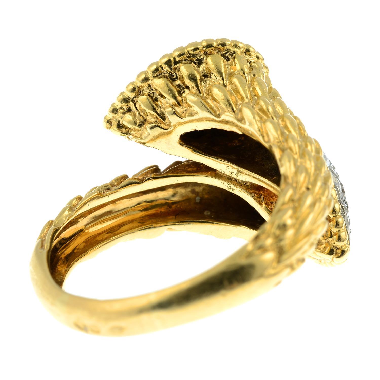 A pavé-set diamond textured crossover dress ring. - Image 5 of 6