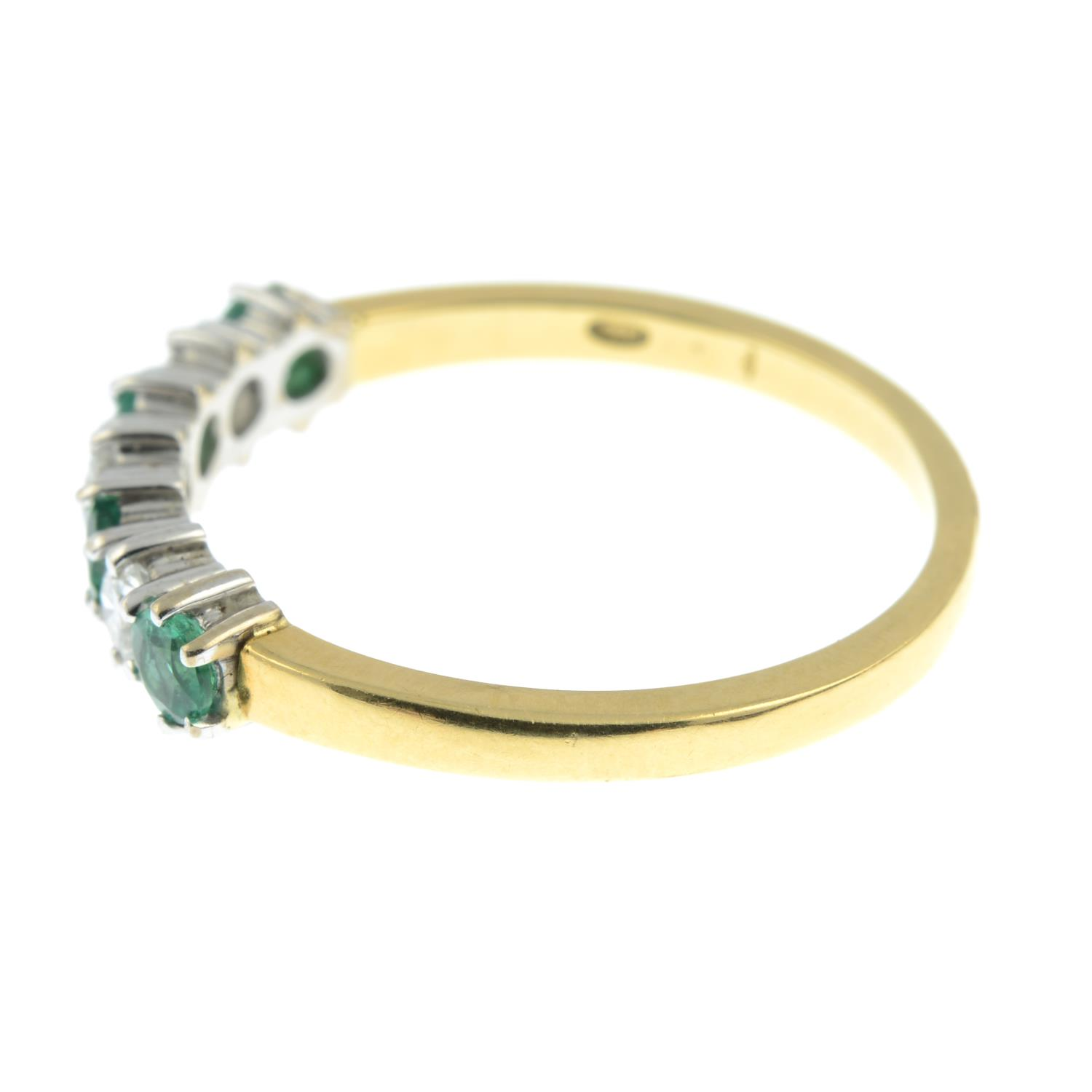 An 18ct gold alternating emerald and brilliant-cut diamond half eternity ring.Estimated total - Image 4 of 5