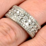 A pavé-set diamond band ring.Estimated total diamond weight 1.80cts,