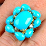 A turquoise and brilliant-cut 'brown' diamond ring,