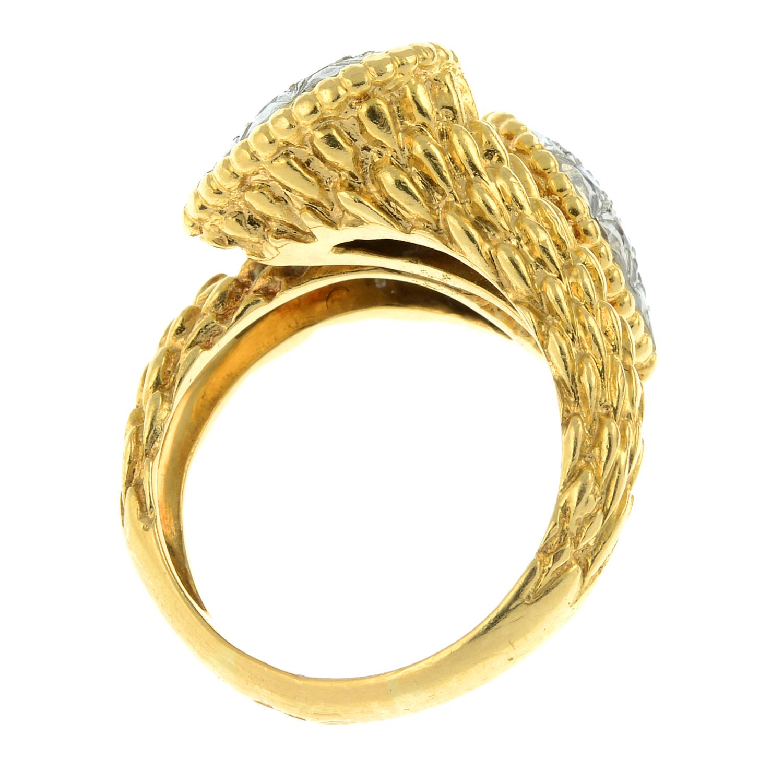 A pavé-set diamond textured crossover dress ring. - Image 6 of 6