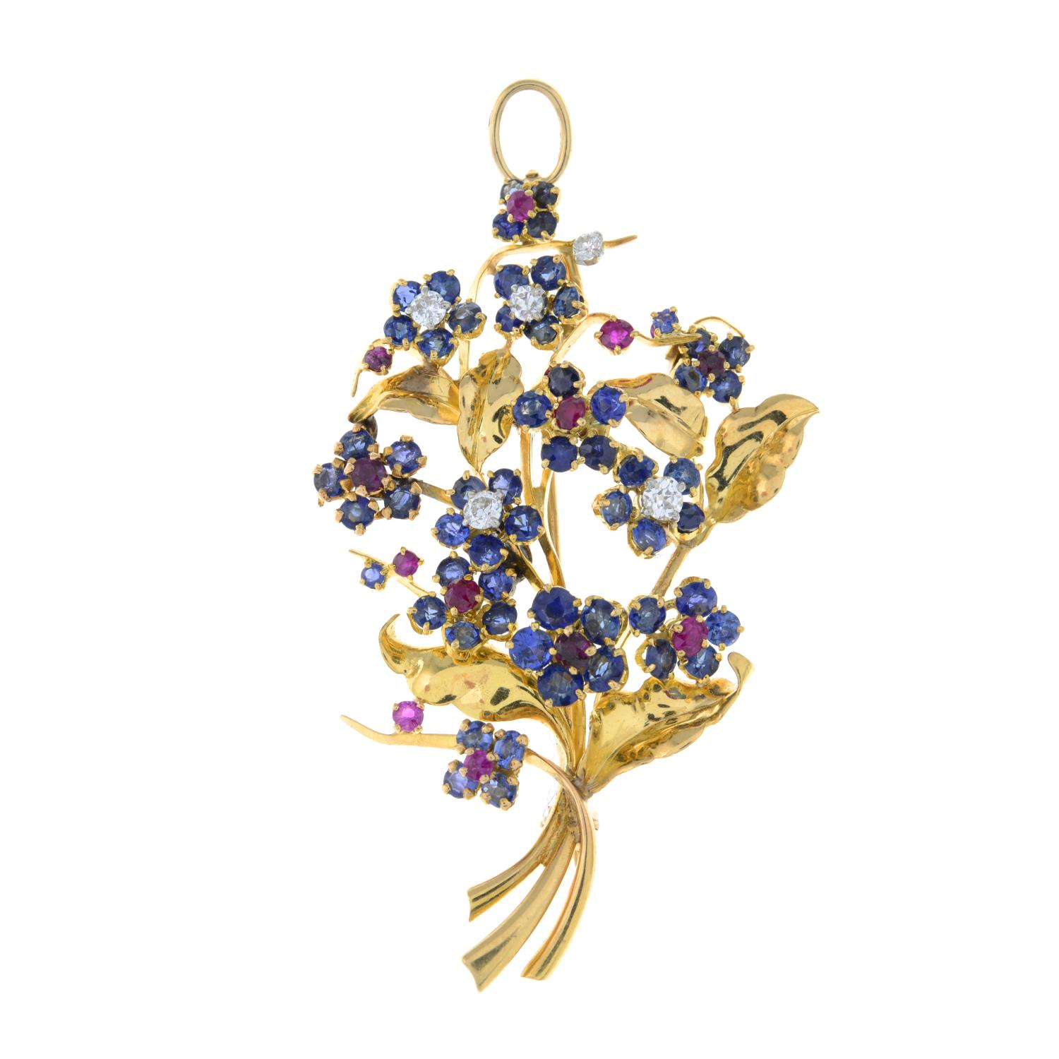 A mid 20th century 18ct gold sapphire, ruby and diamond floral brooch, by Mauboussin. - Image 2 of 4