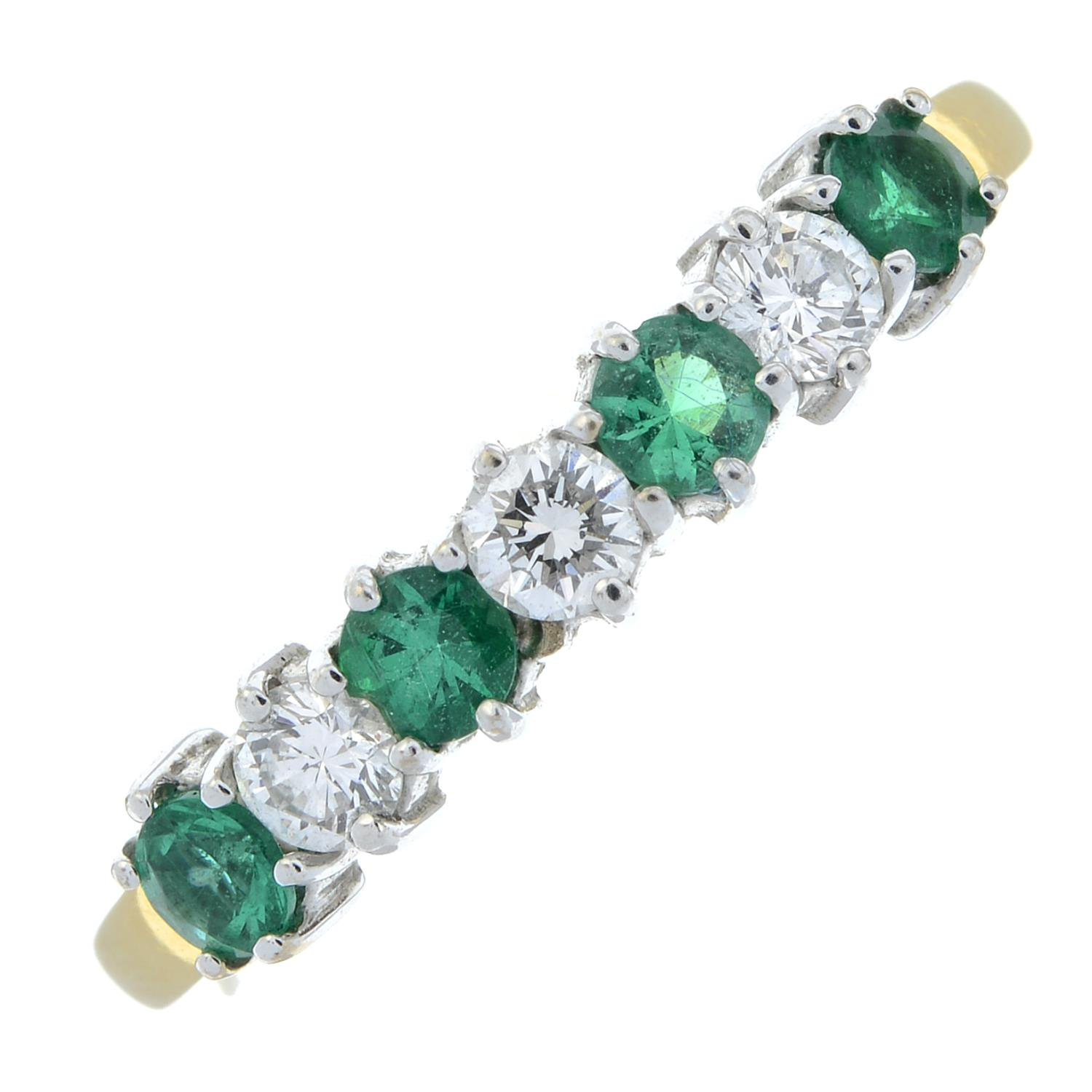 An 18ct gold alternating emerald and brilliant-cut diamond half eternity ring.Estimated total - Image 2 of 5