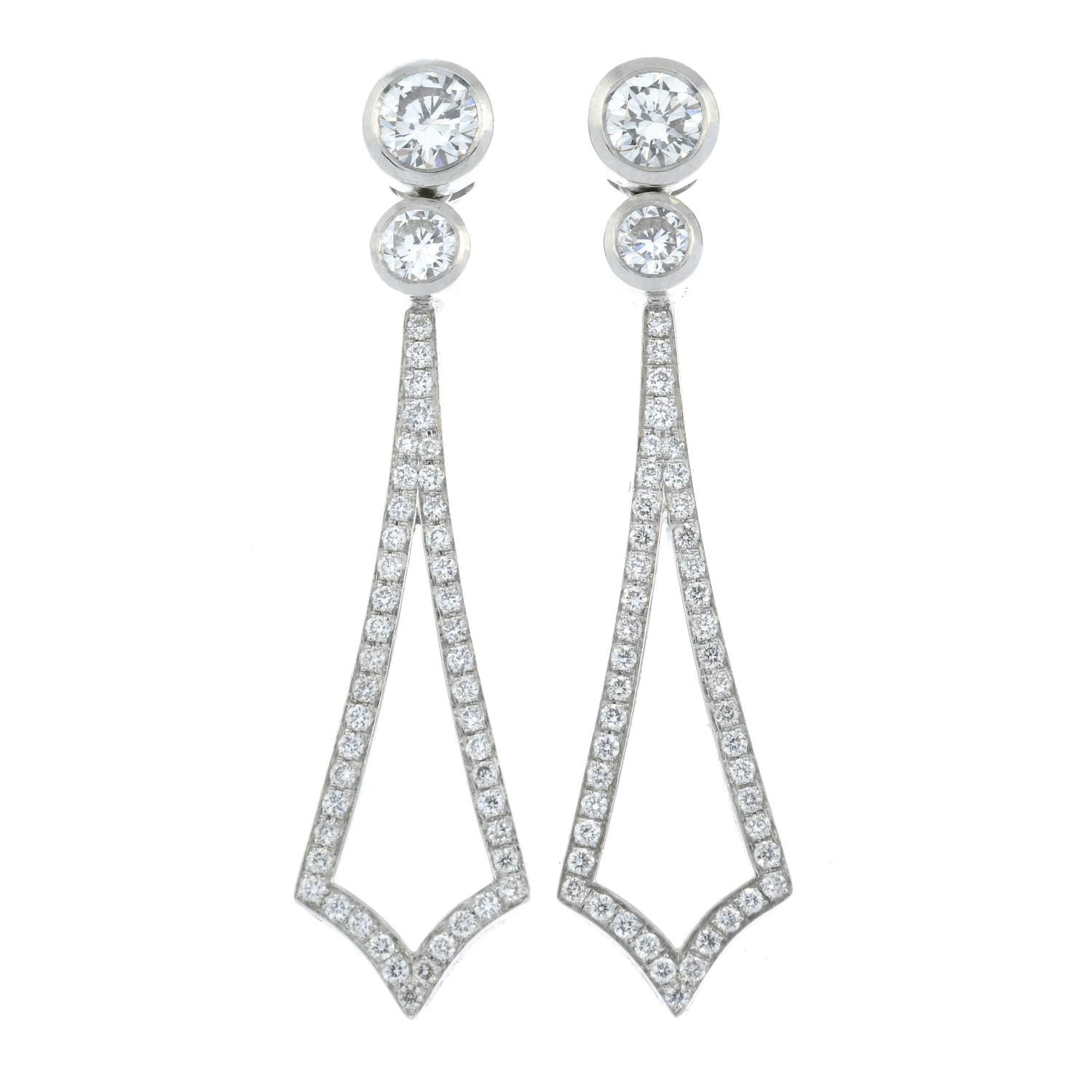 A pair of 18ct gold brilliant-cut diamond earrings, - Image 2 of 3