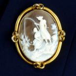 A Victorian gold shell cameo brooch,