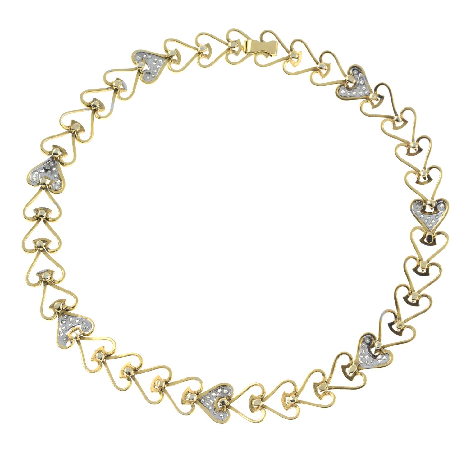A heart motif necklace, with pavé-set diamond highlights. - Image 5 of 5