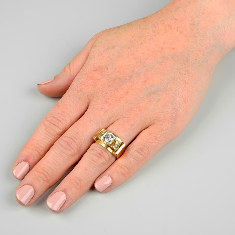 A mid 20th century 18ct gold and platinum diamond dress ring.Principal diamond estimated weight - Image 3 of 6