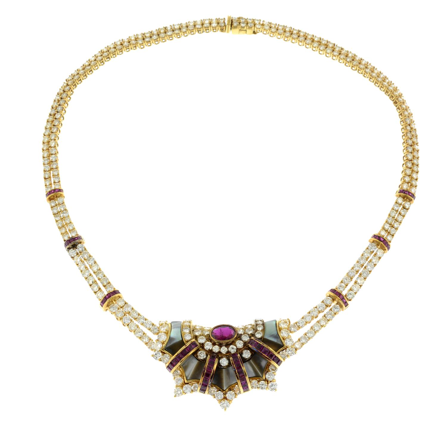 A diamond, ruby and grey mother-of pearl necklace, - Image 8 of 9