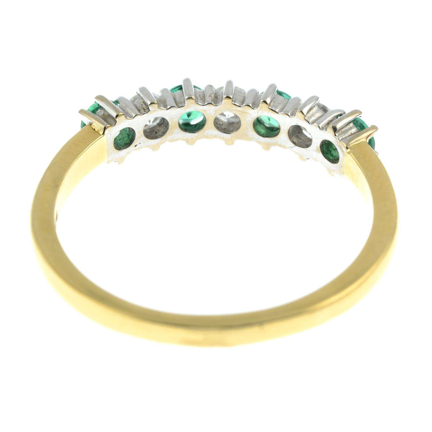 An 18ct gold alternating emerald and brilliant-cut diamond half eternity ring.Estimated total - Image 5 of 5