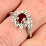 A 'Pigeon's Blood' Burmese ruby and vari-cut diamond dress ring.With report GRS2021-011099,