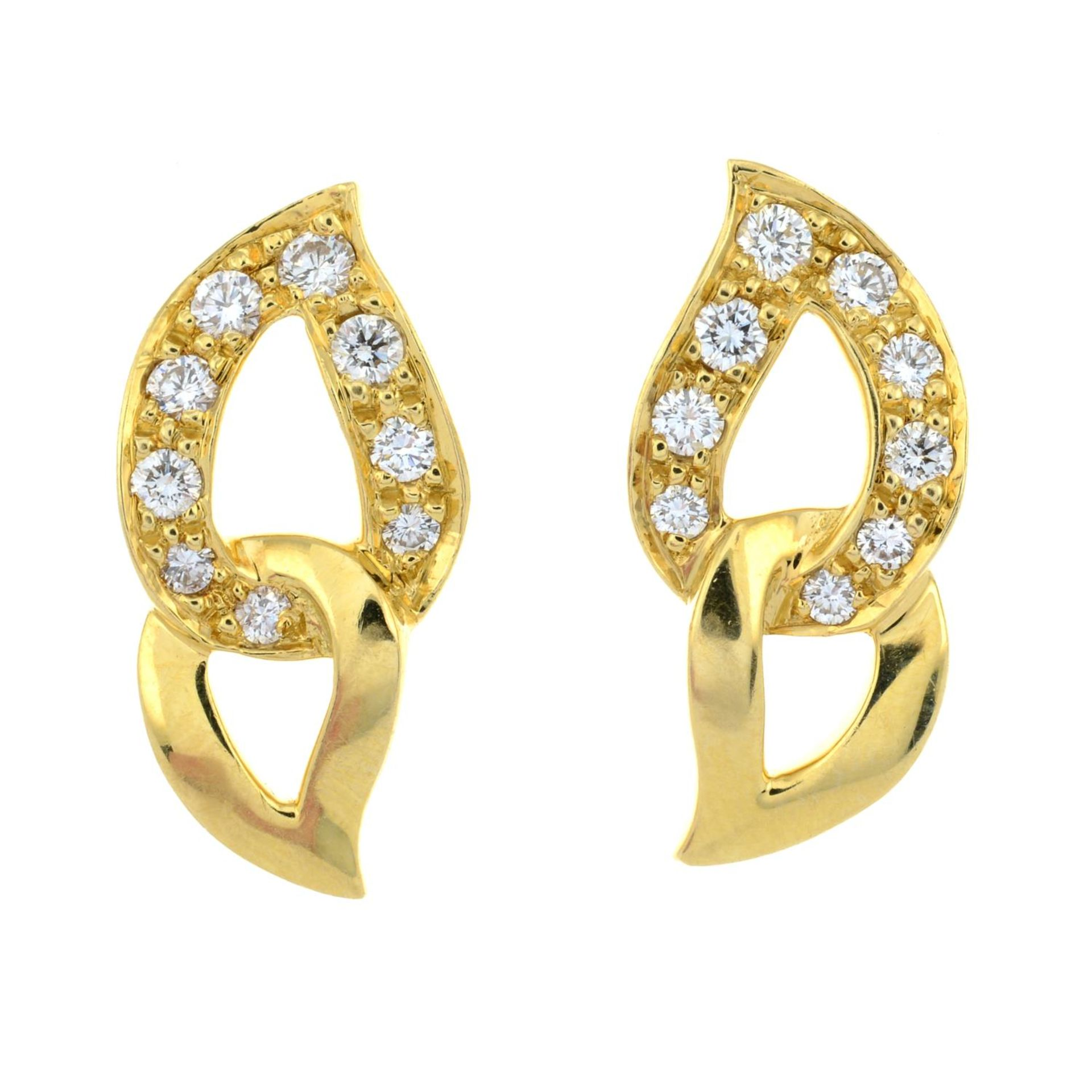 A pair of pavé-set diamond earrings, by Piaget. - Image 2 of 3