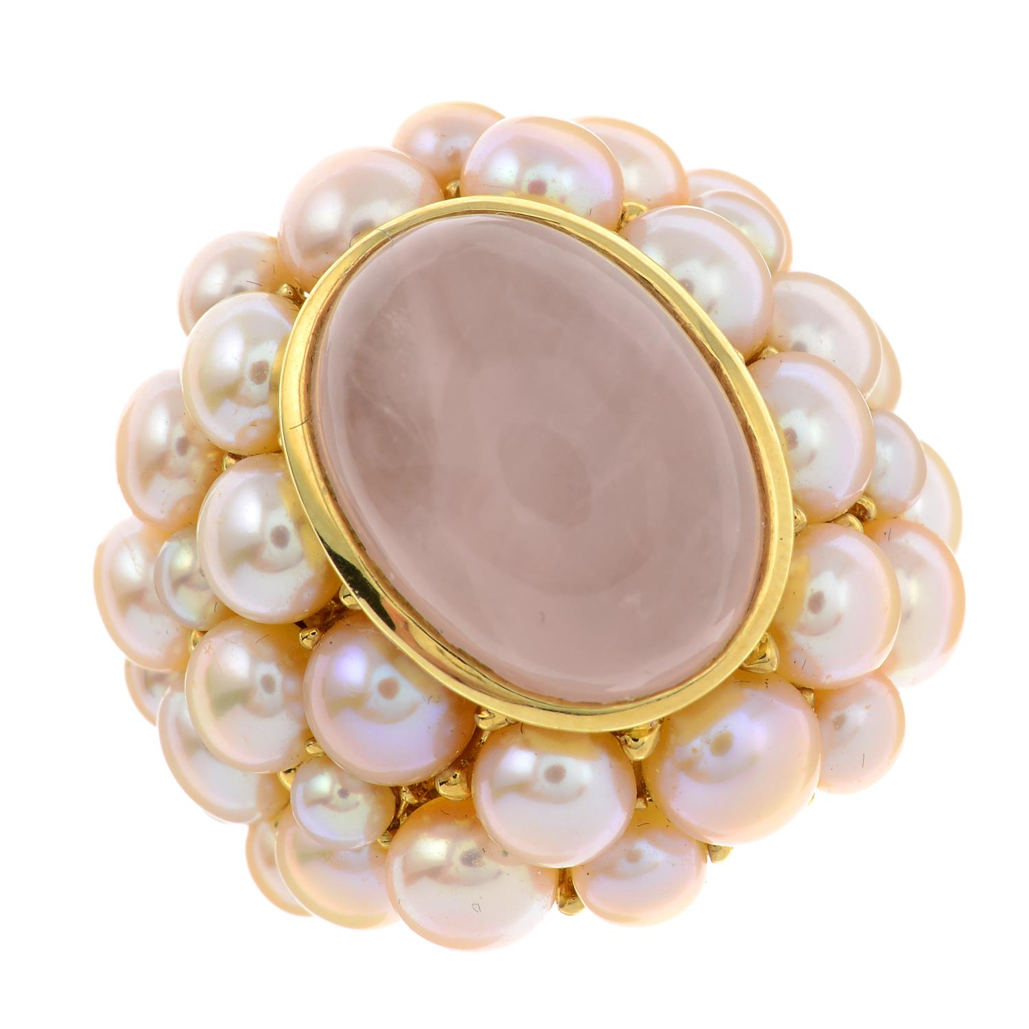 A rose quartz cabochon and pink cultured pearl cocktail ring, by Mimi.Signed Mimi.Stamped 750. - Image 2 of 6