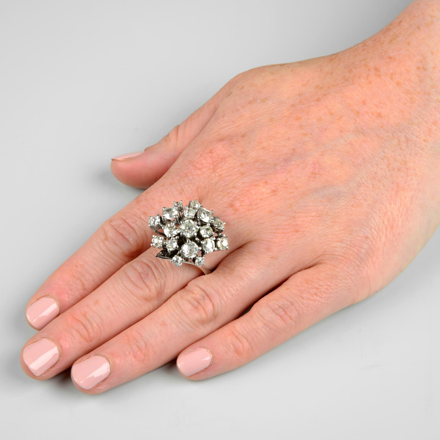 A mid 20th century 18ct gold old-cut diamond cocktail ring.Estimated total diamond weight 4 to - Image 3 of 6