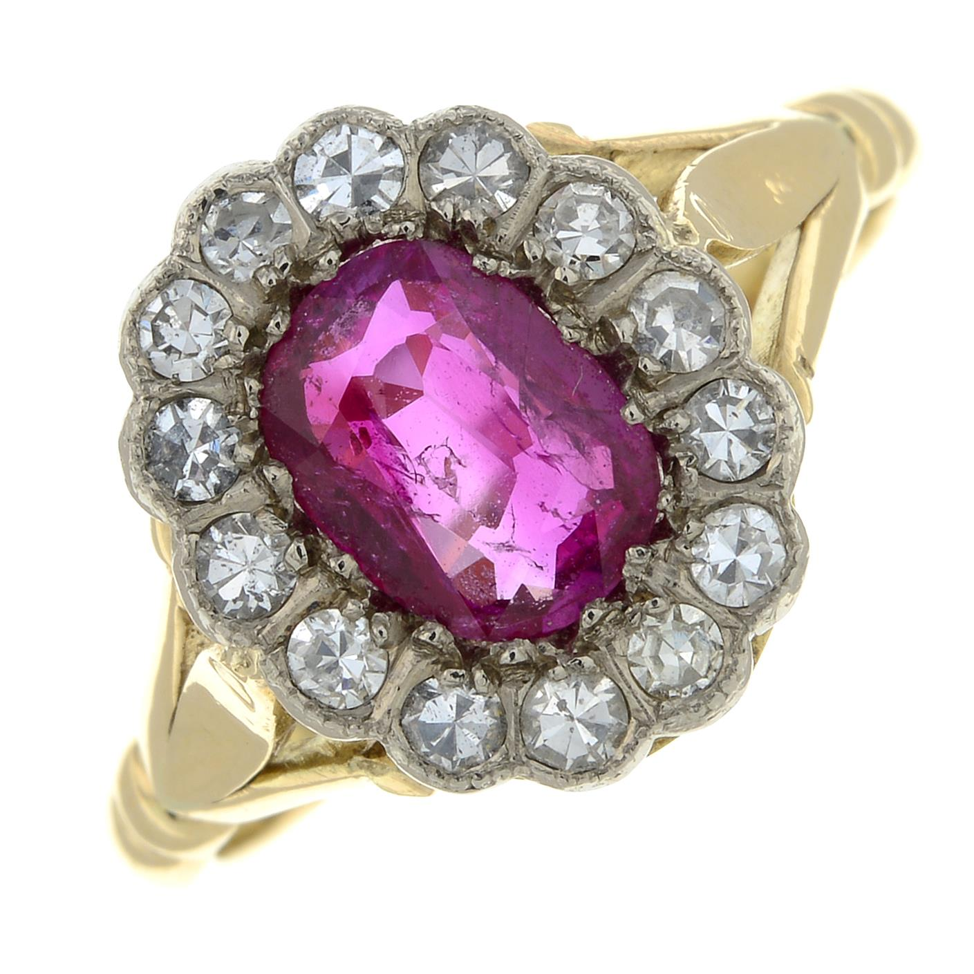 A Burmese ruby and diamond cluster ring.With report 81314-48, - Image 2 of 7