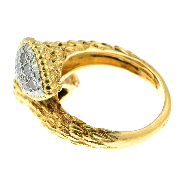 A pavé-set diamond textured crossover dress ring. - Image 4 of 6