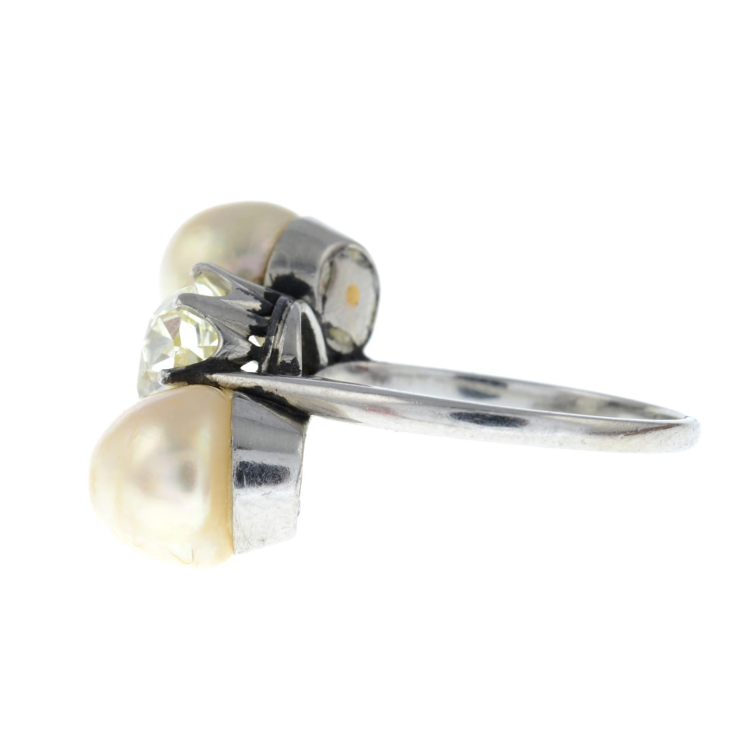 A mid 20th century platinum old-cut diamond and pearl three-stone ring. - Image 4 of 6