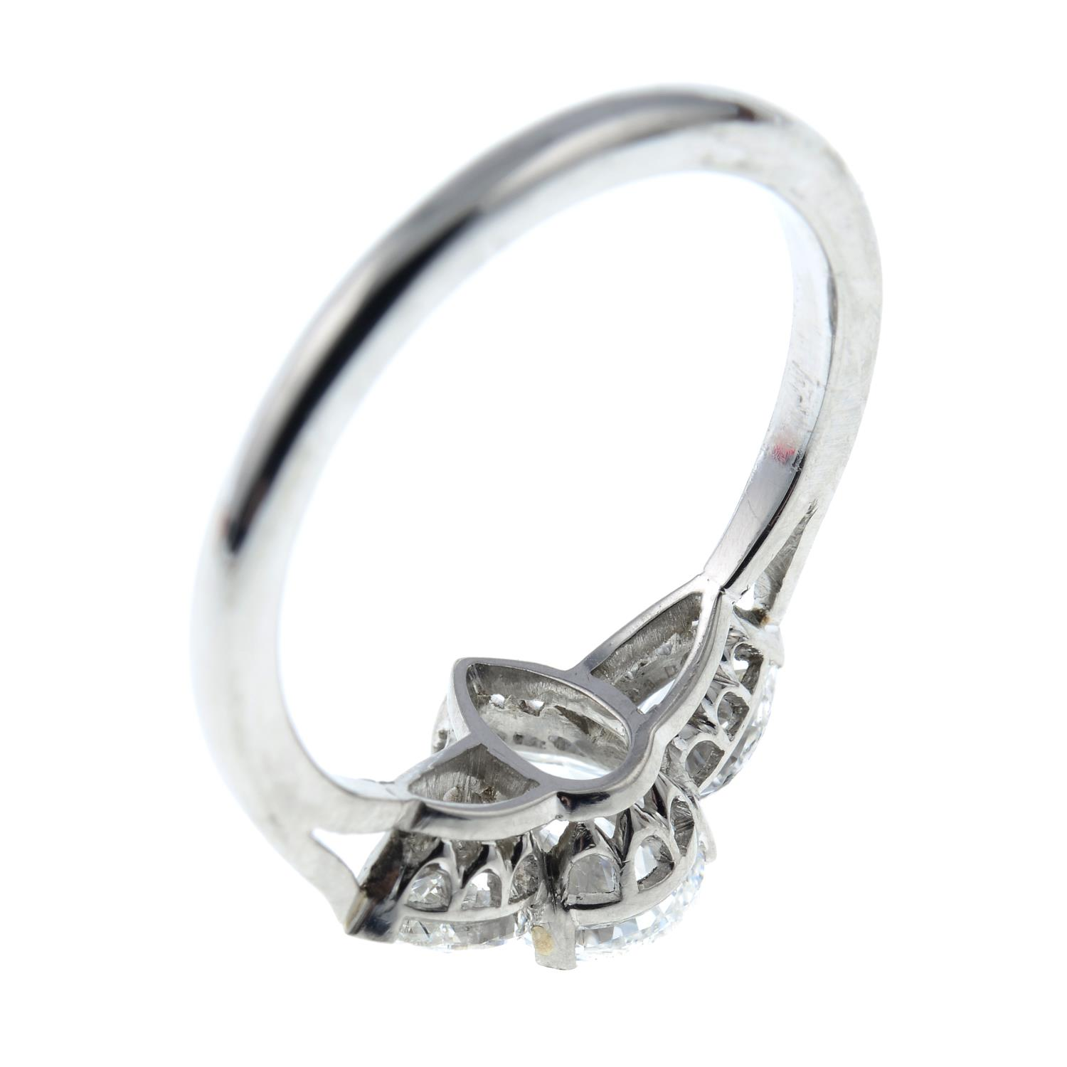 A pear-shape diamond three-stone ring.With report 1146953348, - Image 4 of 7