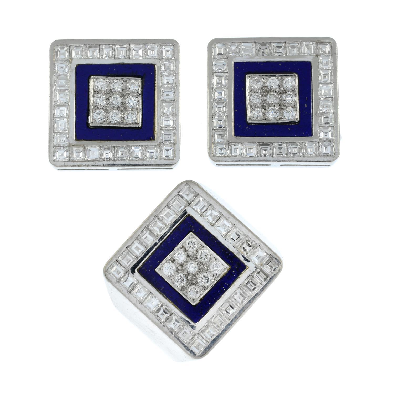 A diamond and lapis lazuli ring, - Image 2 of 7