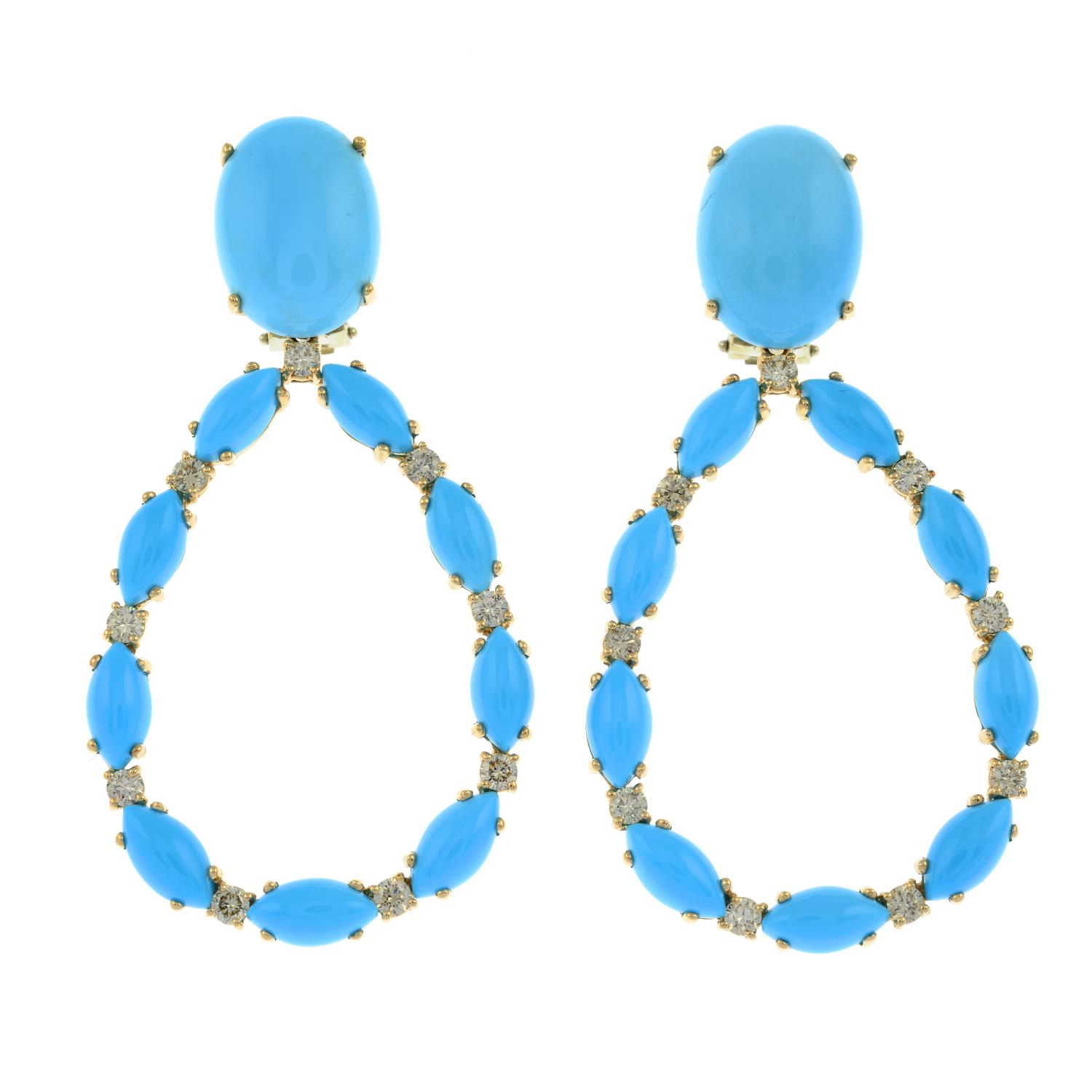 A pair of turquoise and brilliant-cut 'brown' diamond earrings, - Image 2 of 3